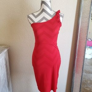 NEW!!H&M-cherry red one shoulder bodycon dress